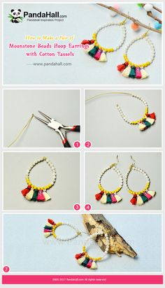 #PandaHall Inspiration Project---#Moonstone #Beads #HoopEarrings with #CottonTassels   #jewelrymaking #earringstutorial #craft #pendants PandaHall Beads APP is on, download here>>>goo.gl/jLxpjp Free Coupons: PHENPIN5 (Save $5 for $70+) PHENPIN7(Save $7 for $100+)