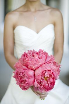 Peonies can be pricey, but it wouldn't take many to make this Coral Pink Peony Bouquet