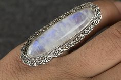 Moonstone Jewellery – Moostone Ring, Blue Fire Ring, 925 Silver Jewelry – a unique product by Midas-Jewelry on DaWanda