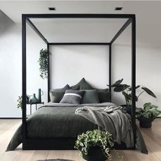The Cubic Four Poster Bed in all her glory. For those of you who have been looking to purchase one of these beauties we are down to our… Khaki Bedroom, Black Bedroom Furniture, Bedding Master Bedroom, Bedroom Black, Dream Bedroom, Home Bedroom, Bedroom Decor, Bedroom Ideas, Bedrooms