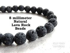 8 mm Unwaxed Charcoal Black Round Natural Lava Rock Mala Beads Bulk Option Ships From USA Untreated Real Volcano Stone Healing Gemstone