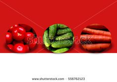 Three #circles with shadow behind and full of #vegetables: #tomatoes, cucumbers and #carrots, on two-tone background: #red and white