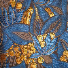 "Art Deco Fabric Panel France circa 1920's ""Vegetation"" circa 1920's French Art Deco woven silk."