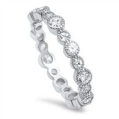 A Perfect 3TCW Russian Lab Diamond Eternity Wedding Band Ring