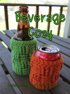 Beverage Cozy or Beer Koozie.  Free crochet pattern and video tutorial.  Katie Cooks and Crafts.  Adjustments for Mason Jar Cozy as well