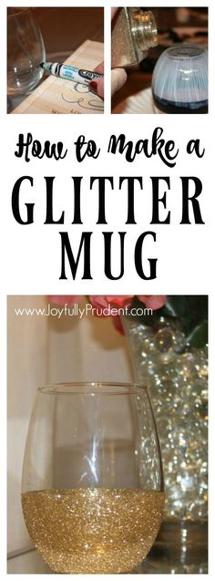 A DIY tutorial on how to make a glitter dipped wine glass and coffee mug. Super easy gift idea. Draw line, apply glue, apply glitter, and seal with glue.