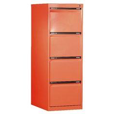 SW 4 Drawer Filing Cabinet Orange