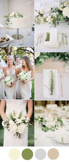 beautiful ivory and greenery neutral wedding color ideas