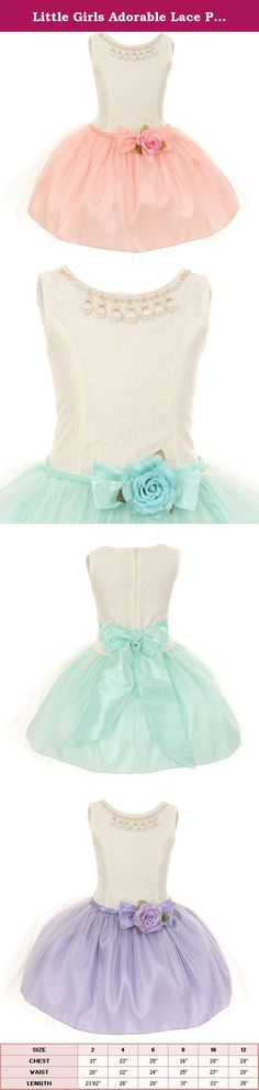 Little Girls Adorable Lace Pearl Taffeta Tulle Mesh Flowers Girls Dresses Lilac Size 6. Beautiful lovely lace and taffeta dress with overlay tulle skirt. This gorgeous short dress features fabulous detachable pearl and rhinestone necklace. The waist is accented by a beautiful flower that compliments perfectly with the dress. Have your little girl wear this dress for any special event.