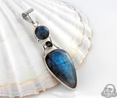 Silver and mystic topz with labradorite pendant necklace