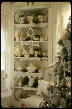 Carolyn's cozy cottage home: The Old Painted Cottage December 2011 featured home. I have a corner cupboard almost like this one. Shabby Chic Christmas, Christmas Love, Vintage Christmas, Beautiful Christmas, Christmas Trees, Cottage Kitchens, Cottage Homes, Cozy Cottage, Cottage Style