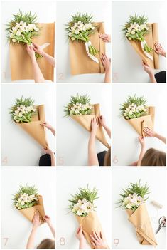 DIY Flower Bouquet Step by step instructions on how to beautifully wrap a flower bouquet. The post DIY Flower Bouquet appeared first on Easy flowers. How To Wrap Flowers, Diy Flowers, Paper Flowers, Flower Wrap, Diy Wrapping Flowers, A Flower, Wrapping Bouquets, Brown Paper Wrapping, Flower Plants