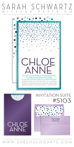 get ready to fall in love with our newest design: confetti crush. see this and other fabulous bat mitzvah invitation suites from sarah schwartz mitzvah paper co at www.sarahschwartz.com