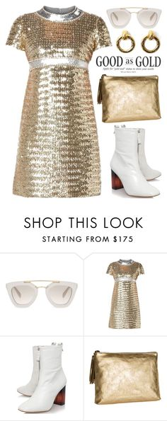 """Gold Sequin Dress 1947"" by boxthoughts ❤ liked on Polyvore featuring Prada, KG Kurt Geiger, Rebecca Taylor and Chanel"