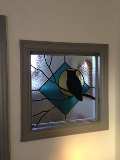 Stained glass owl silhouette, I gotta make this one for someone!