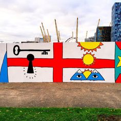 Detail from my mural at Greenwich Peninsula (London). #ricardocavolo #mural #london #flag #handmade  #painting #art by ricardocavolo