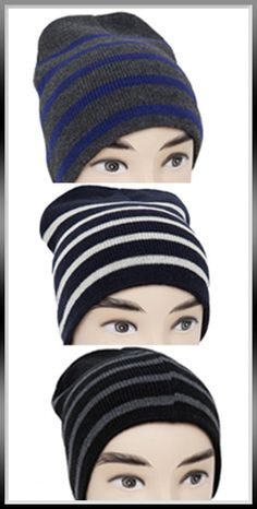 c55ecb9b242 Mens Striped Knitted Beanie Hat Mens Winter Hat Styles