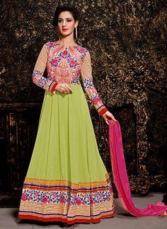 Green Georgette Ankle Length Anarkali Suit