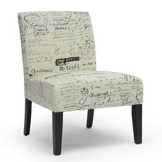 Baxton Studio Phaedra French Script Modern Slipper Chair