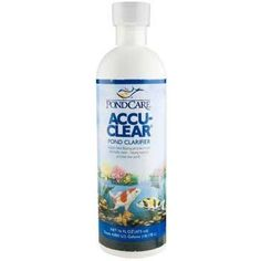 Aquarium Pharmaceuticals Pond Care Accu-Clear 16-oz by Aquarium Pharmaceuticals. $22.87. Pond Care Accu-Clear UPC: 317163051429 Manufacture: Aquarium Pharmaceuticals Pond Clarifier Quickly clears cloudy pond water by causing tiny suspended particles to clump together, forming larger particles that fall to the bottom and are siphoned out or removed by the pond filter. Maintains crystal-clear water and improves filter efficiency. 16 fl. oz. bottle (473 ml) Treats 4,80...