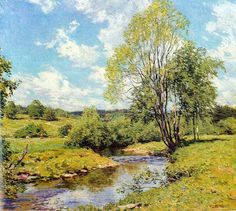 """""""Green Idleness,"""" Willard Metcalf, oil on canvas, 26 x 29 (nature paintings on canvas) Green Landscape, Landscape Art, Landscape Paintings, Nature Paintings, Beautiful Paintings, Art Nature, Watercolor Landscape, Watercolor Art, American Impressionism"""