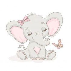 Lindo elefante con una mariposa Vector P. Cute Elephant Drawing, Baby Animal Drawings, Cute Baby Elephant, Elephant Art, Little Elephant, Cute Drawings, Indian Elephant, Cute Elephant Cartoon, Baby Elephants