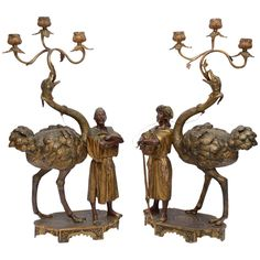 Pair of 19th Century Decorative Orientalist Ostrich Candelabra | From a unique collection of antique and modern candleholders and candelabra at https://www.1stdibs.com/furniture/lighting/candleholders-candelabra/