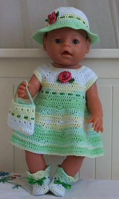 Сlothes for baby born doll, needlepoint: dress, babies shoes, hat. Clothes is decorated with rosettes made with satin ribbons. Our clothes for baby born doll will make happy your children. It helps to…MoreMore CLICK VISIT link above for more info Crochet Doll Clothes, Doll Clothes Patterns, Doll Patterns, Crochet Doll Pattern, Crochet Dolls, Crochet Patterns, Knitting Patterns, Baby Born Clothes, Preemie Clothes
