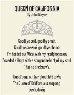 John Mayer - I just bought the Mayer font by David A. Smith and quickly whipped this up in Photoshop. I really do love the lyrics to this song. - Jonni S.