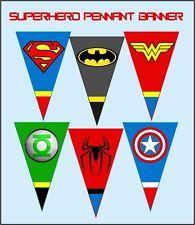 SUPER HERO LOGOS Digital Birthday Party Pennant Banner