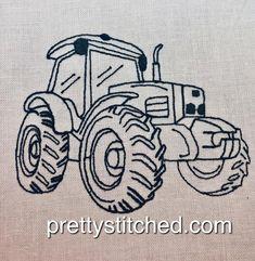 Tractor 2 – Pretty Stitched Tractors, Machine Embroidery, Stitch, Pretty, How To Make, Full Stop, Tractor, Stitches, Costura
