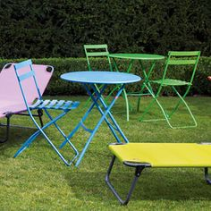 Spice Bistro Folding Table. Designed in Italy, the Spice chair is a quality, bistro-style outdoor table. Perfect for adding a burst of colour to your outdoor area this summer.  Available at heals.co.uk