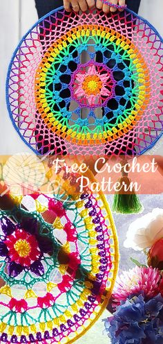 Easy Crochet Cheer up your world with these colourful hoop mandalas – a free pattern from The Little Bee! I hope you have enjoyed this beautiful crochet, the free pattern is HERE so you can make a beautiful … Crochet Edging Patterns, Crochet Mandala Pattern, Easy Knitting Patterns, Crochet Doilies, Easy Patterns, Crochet Shawl, Crochet Crafts, Easy Crochet, Free Crochet