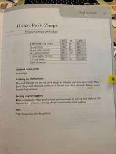 Honey Pork Chops - Don't Panic Dinner's in the Freezer pg135