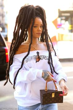 Rihanna rocks new dreadlocks and off-the-shoulder sweater in New York | Daily Mail Online