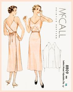 1930s 30s vintage lingerie sewing pattern Art Deco wrap dress slip negligee bust 34 b34 repro reproduction