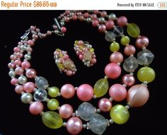 Cyber Monday Sale Vintage Pink Yellow Beaded Necklace Signed Japan Collectible Retro Rockabilly Glam Jewelry by MartiniMermaid on Etsy https://www.etsy.com/listing/206332059/cyber-monday-sale-vintage-pink-yellow