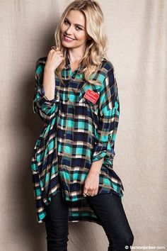 PLUS SIZE Oversized Loose Plaid Button Up Top-Blue Green