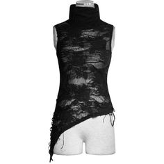 Decadence Torn Effect Black Gothic Top by Punk Rave ($37) ❤ liked on Polyvore featuring tops, distressed top, punk tops, sleeveless tops, high neck sleeveless top and goth tops