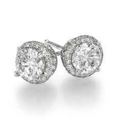Diamond Stud Earrings 950 Platinum 2.40 ctw Certified Round Cut 2/3 ct Center Stones H Color SI2 Clarity -
