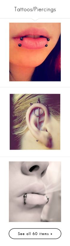 """Tattoos/Piercings"" by fallen17angel ❤ liked on Polyvore featuring piercings, jewelry, lips, accessories, tattoos and piercings, earrings, jewelry/ piercings, tattoo jewelry, rings and snake jewelry"