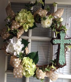 Easter Hydrangea Wreath with Cross