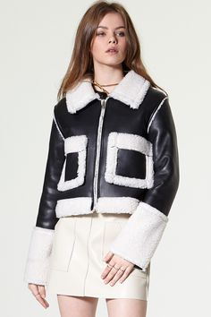 Lona Cropped Aviator Jacket Discover the latest fashion trends online at storets.com #Mini Skirt #Bomber Jacket