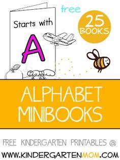 Free printable alphabet minibooks by kindergartenmom.com