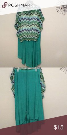 Turquoise summer Two piece, skirt w/elastic waist. Top has white camisole and elastic bottom. Great for summer parties. I.N. Studio Dresses