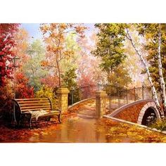 Diamond Mosaic Diy Diamond Painting Scenic Full Diamond Embroidery Cross Stitch Needlework Bridge Forest Landscape Home Deco Dark Paintings, Cheap Paintings, Cross Paintings, Mosaic Diy, Mosaic Crafts, Scenery Pictures, Autumn Park, Autumn Scenery, Paint By Number Kits