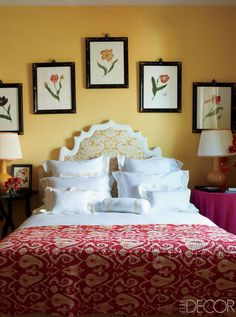 For Branca, coming full circle was both gratifying and surprising. She realized the extent to which she had changed since leaving Italy for America all those years ago.   Watercolors by Anna Chiara Branca line the wall of a guest room; the bed is dressed with sheets by Schweitzer Linen and a vintage Indian coverlet, and the custom-made headboard is upholstered with an antique textile.    - ELLEDecor.com