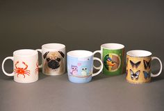 Bone China Mug designs including Crab & Lobster, Pug Shot, Love Owls, British Birds and Realistic Butterflies