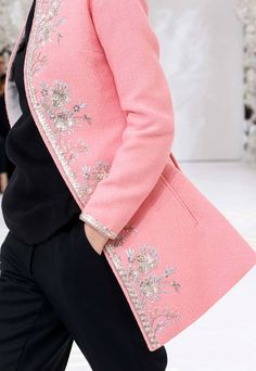 Timeless elegant chic delicate metallic floral embroidered neon pink wool long jacket / coat  Christian Dior Fall Winter 2014 #Couture #FW2014 #HauteCouture