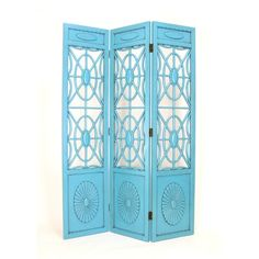 Wayborn Spider Web 3 Panel Room Divider in Distressed Teal
